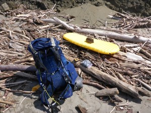 My pack and sleeping pad, un-rafted after crossing the Elk River.