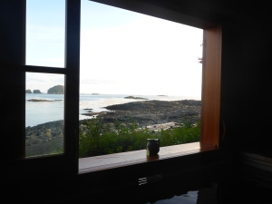 The view from the bath house at White Sulfur Hot Springs on Chichagof Island.  Pure magic.