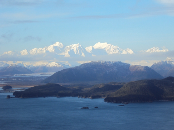 The Fairweather Mountains, looking north from the Inian Islands.